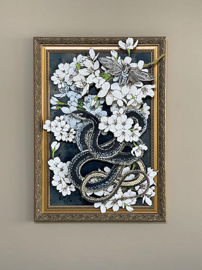 Snake in flowers
